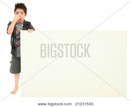 Boy With Stinky Face Expression Holding Blank Sign