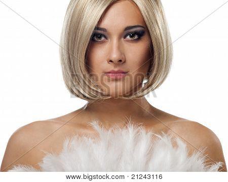 Beauty blond woman portrait with fan