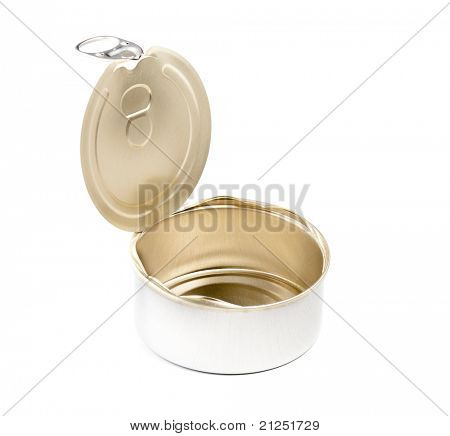 Opened food tin can isolated over white