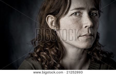 Doubtful woman looking insecure
