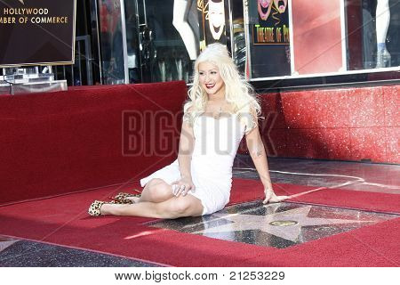 LOS ANGELES - NOV 15: Christina Aguilera at a ceremony where Christina Aguilera receives a star on the Hollywood Walk of Fame in Los Angeles, California on November 15, 2010.