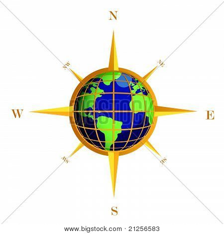Gold Compass globe illustration design isolated over white