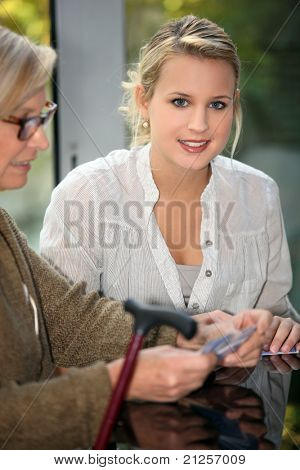 Großmutter und Tochter Spielkarten
