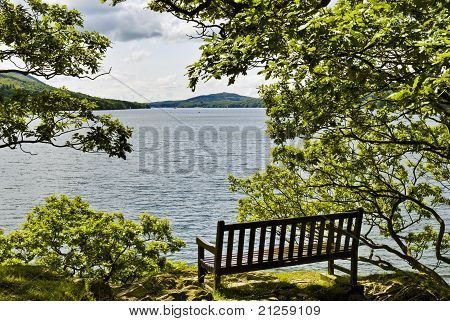 Seat overlooking lake