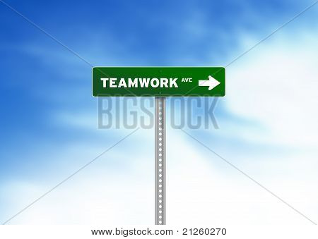 Teamwork Road Sign