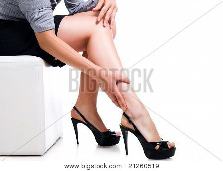 Slim long sexy woman legs