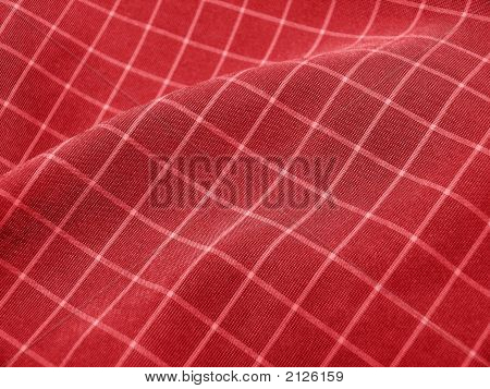 Pleated Checkered Fabric Closeup - Series - Deep Red. Christmas. Good For Background.