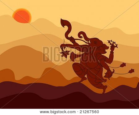 Shadow art Ganesha playing music in sunset