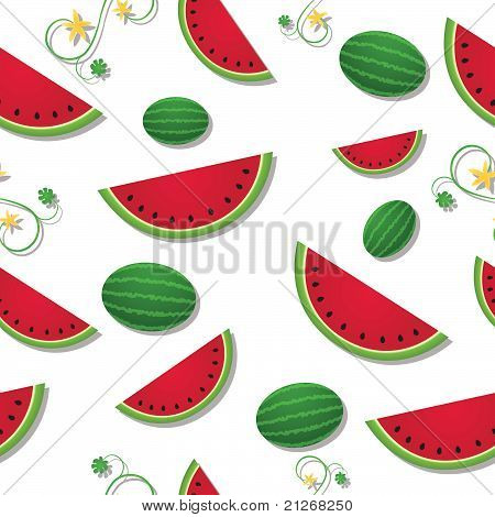 Sliced Watermelon With Vines Seamless Tile