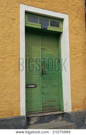 Front door green yellow