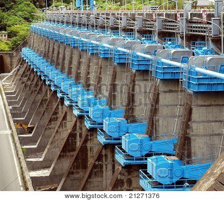 Large Sluice Gates At A Dam