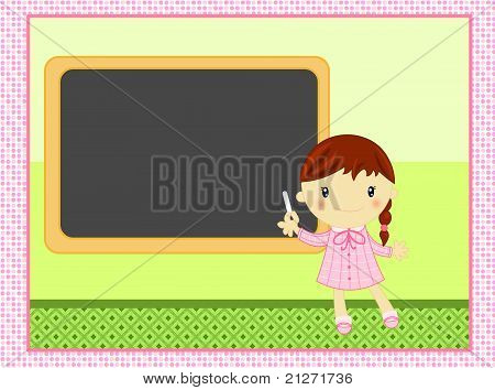 school child with blackboard