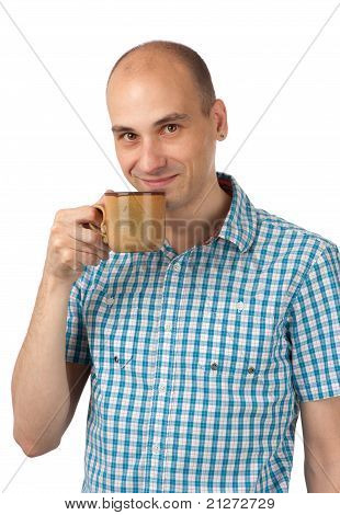 Portrait Of A Young Man Drinking Coffee