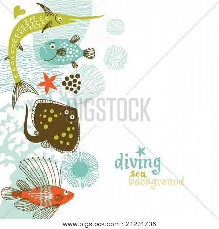 vertical illustration of sea life