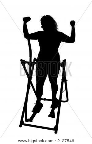 Silhouette With Clipping Path Woman Exercising