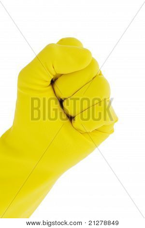 Glove of a cleaning lady