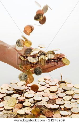 Hand with euro coins