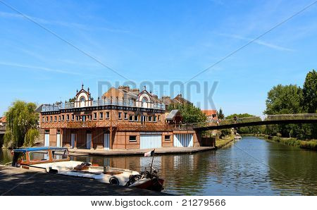 Boat House In The Center Of Amiens, France.