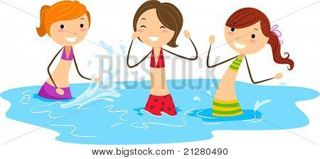 Illustration of Girls Playing with Water