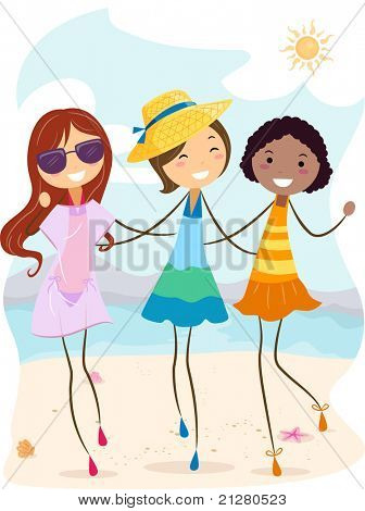 Illustration of Girls Enjoying the Summer Heat