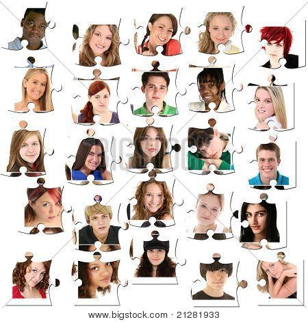 Twenty-five Teen Faces On Puzzle Pieces