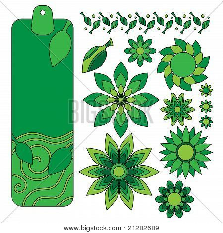 Green tag leaf and flower collection
