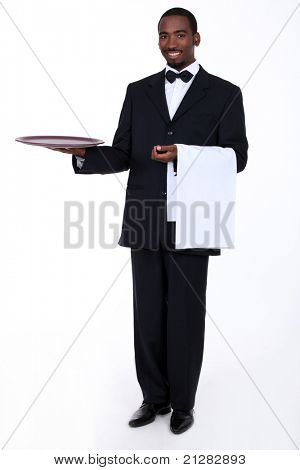 Butler with an empty tray