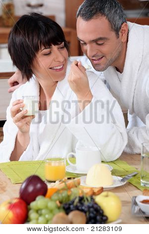 couple having breakfast