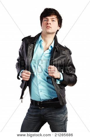 Closeup Portrait Of The Beautiful Young Sexual Man In A Leather Jacket
