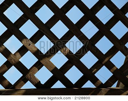 Wooden Lattice In Shadow