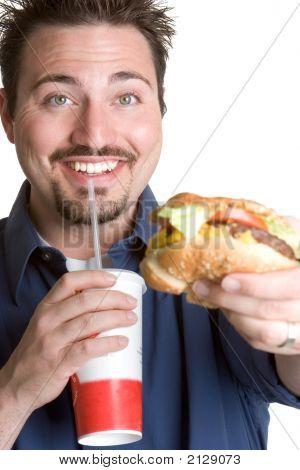 Man Eating Fastfood