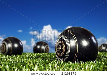 Close Up Of Bowling Balls On A Bowling Field