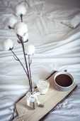 Autumn Cozy Breakfast In Bed. Romantic Breakfast. Cotton, A Cup Of Hot Coffee, A Candle. Autumn Cosi poster