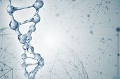Science background with DNA molecules. 3D rendering poster