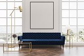 White Living Room, Blue Sofa, Poster poster