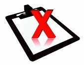 pic of x-rated  - Clipboard with x mark illustration design over a white background - JPG