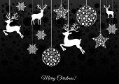 Christmas Card With Balls, Reindeer And  Snowflakes. poster
