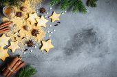 Christmas Background With Spices And Cookies poster