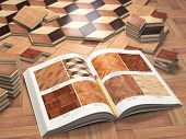 Few types of wooden parquet coating and catalog. Stack ofr parquet wooden planks. 3d illustration poster