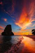 Tropical holidays vacation sunset beach. Pranang beach. Railay , Krabi Province Thailand poster