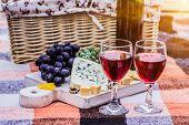 Постер, плакат: French Picnic Red Wine With Cheese And Grape