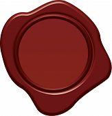 stock photo of wax seal  - Blank wax seal vector in 3d style - JPG