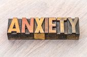 anxiety word abstract in vintage letterpress wood type printing blocks poster