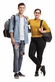 Full length portrait of a male and a female teenage student isolated on white background poster