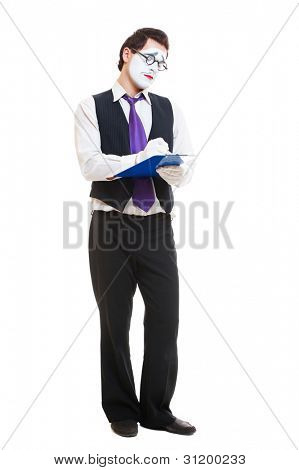 studio shot of mime businessman writing something. isolated on white background