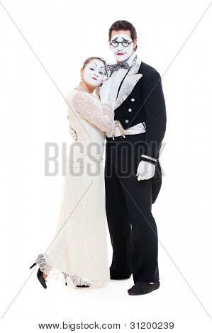 studio shot of two mimes isolated on white background