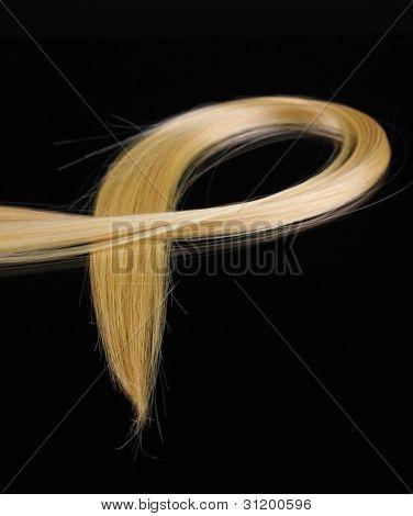 Shiny blond hair isolated on black