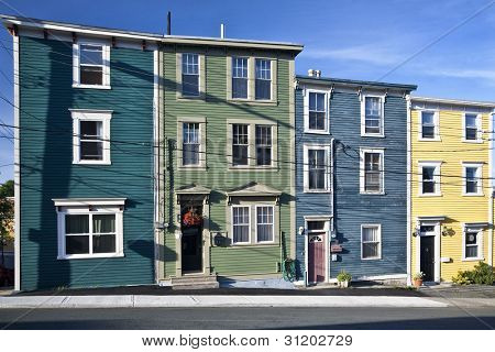 Unique architecture in the colorful houses on the steep streets of St. John's, Newfoundland.