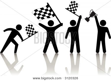 Symbol People Wave Checkered Flags & Victory Trophy.Eps
