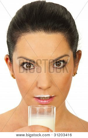 Amazed Woman With Milk Mustache